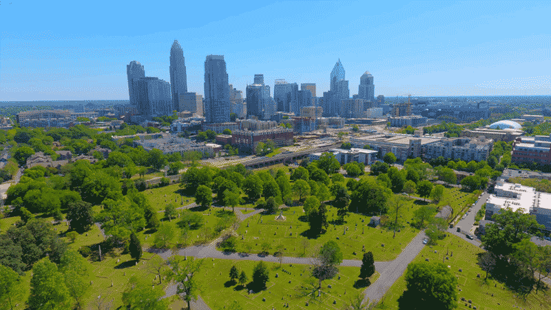 NC cemetery skyline